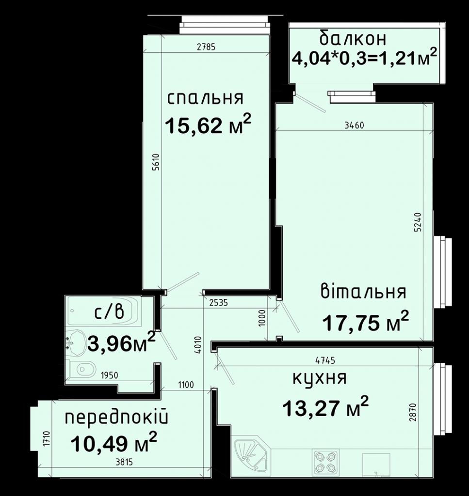 ЖК Авеню 42 вариант планировки 2-комнатной квартиры