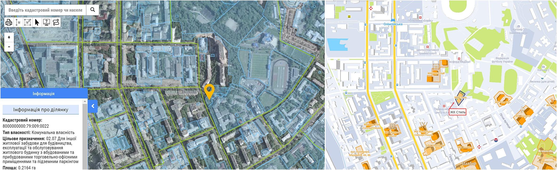 ЖК Стиль данные кадастра и на карте