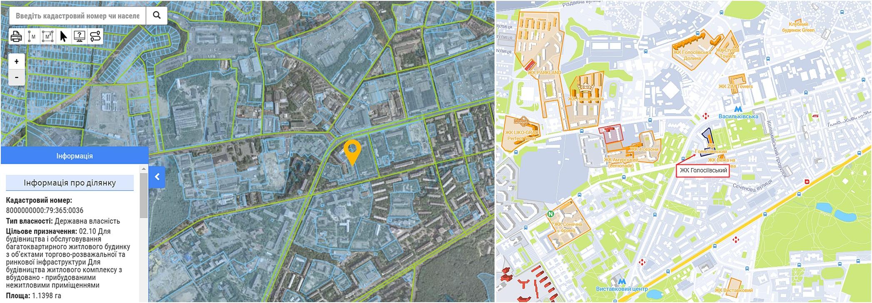ЖК Голосеевский данные кадастра и на карте