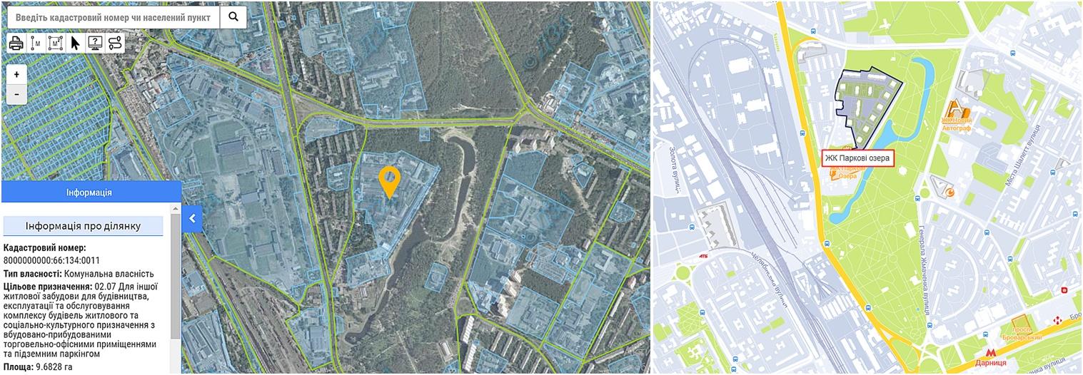 ЖК Парковые Озера данные кадастра и на карте