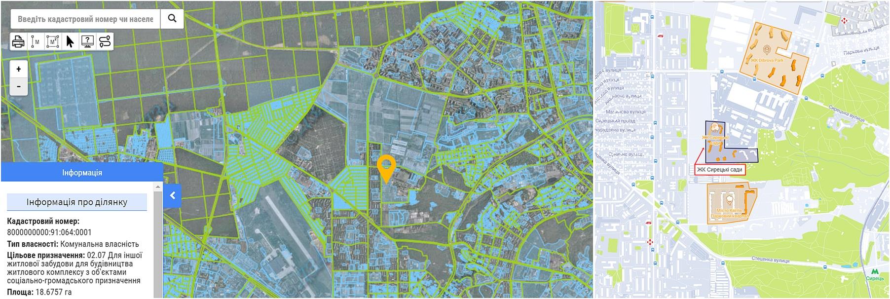 ЖК Сырецкие Сады данные кадастра и на карте