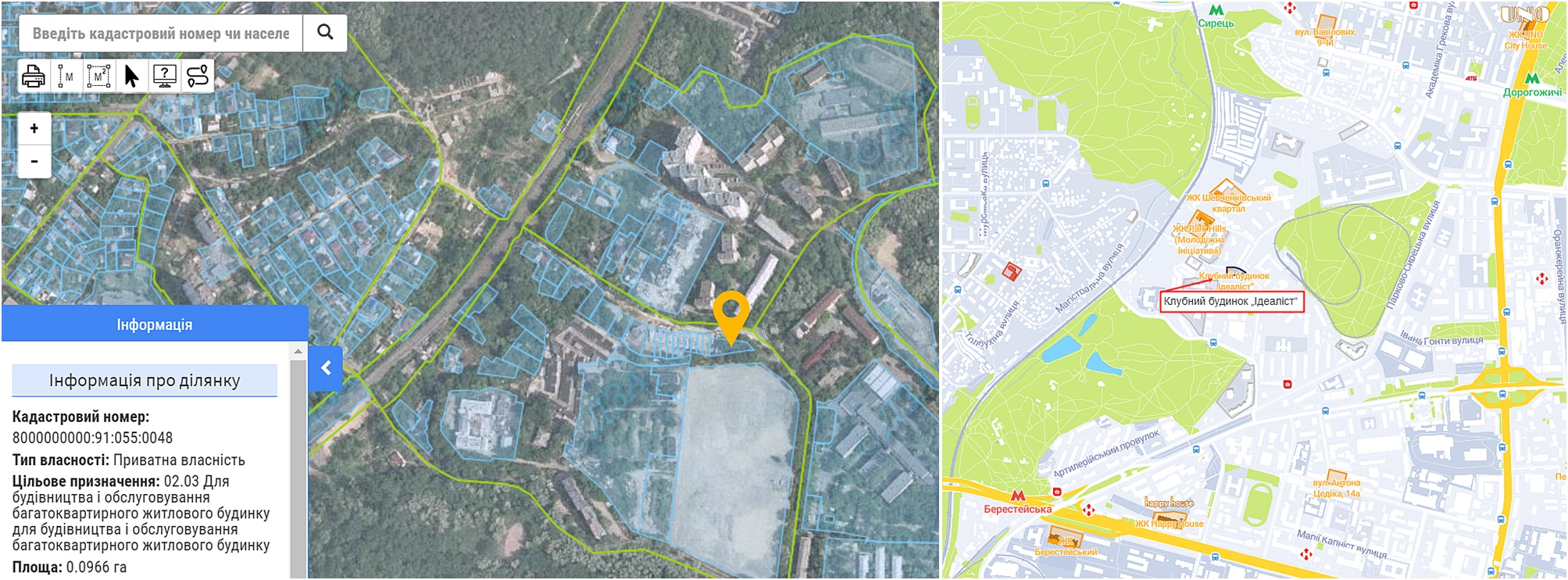 Клубный дом Идеалист данные кадастра и на карте