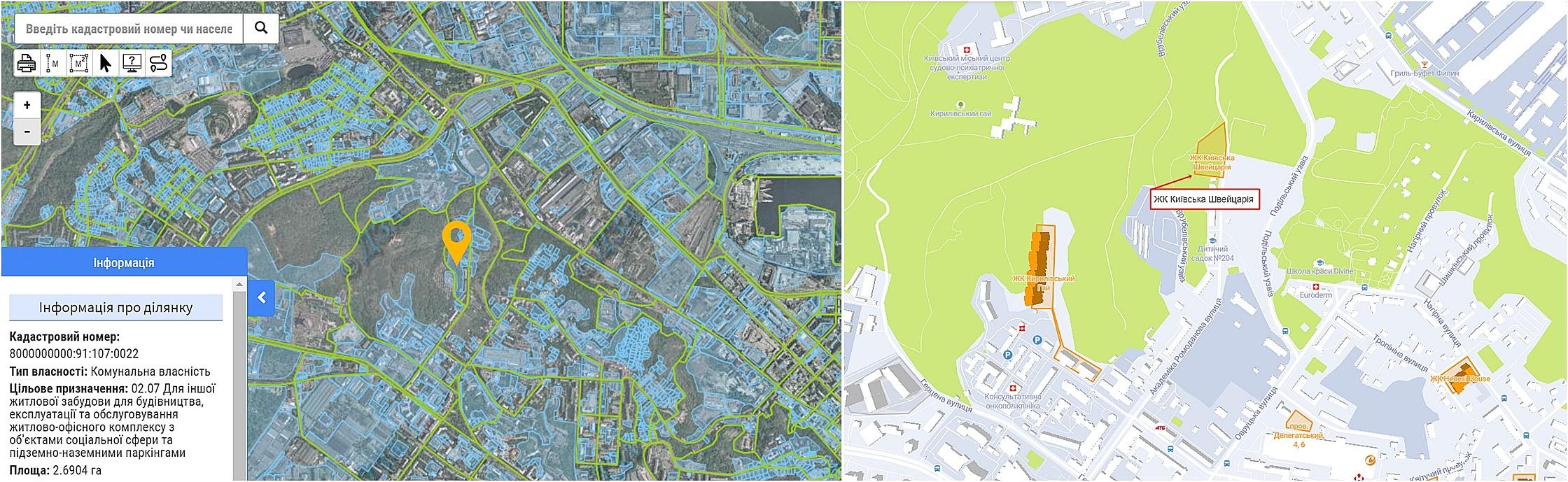 ЖК Киевская Швейцария данные кадастра и на карте