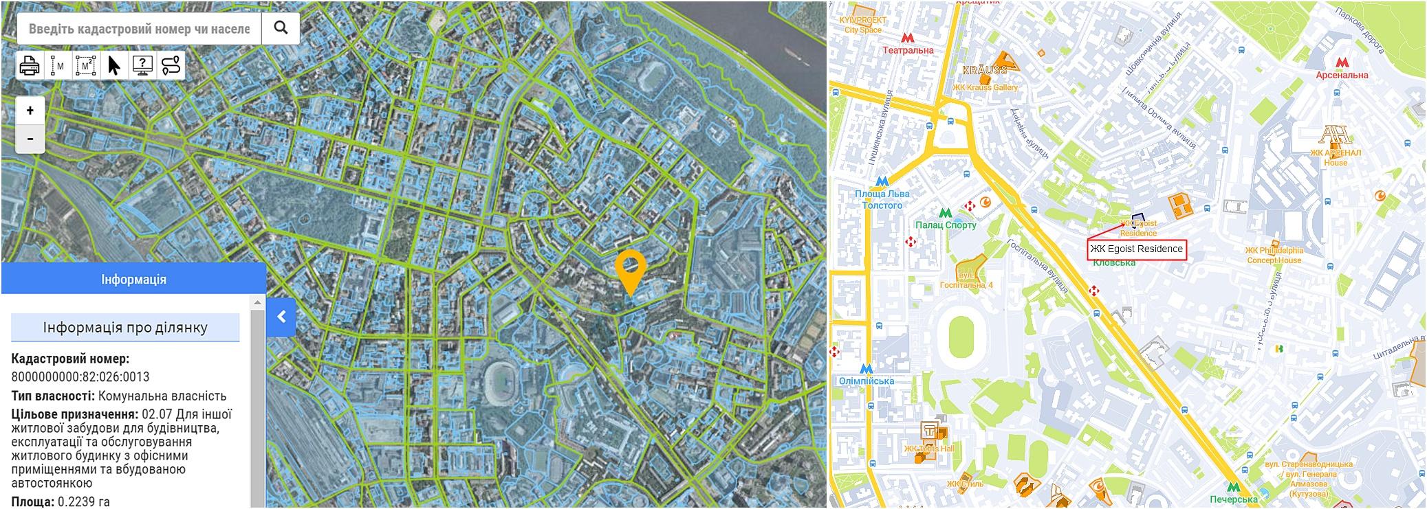 ЖК Egoist Residence данные кадастра и на карте