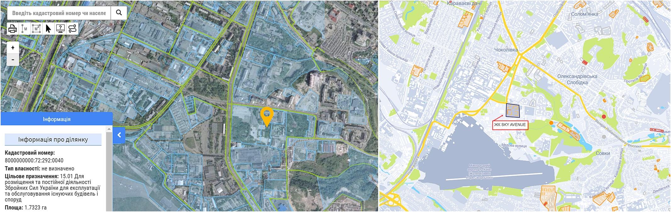 ЖК SKY AVENUE данные кадастра и на карте
