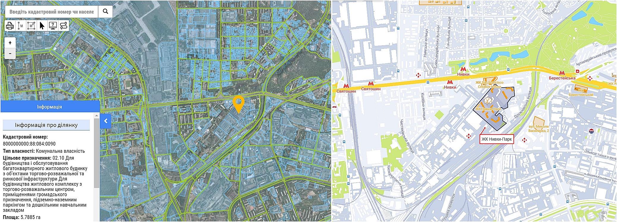 ЖК Нивки-Парк данные кадастра и на карте