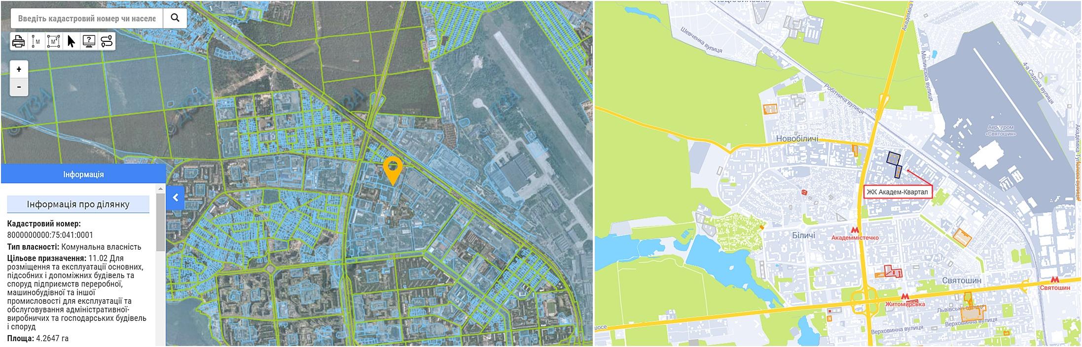 ЖК Академ-Квартал данные кадастра и на карте