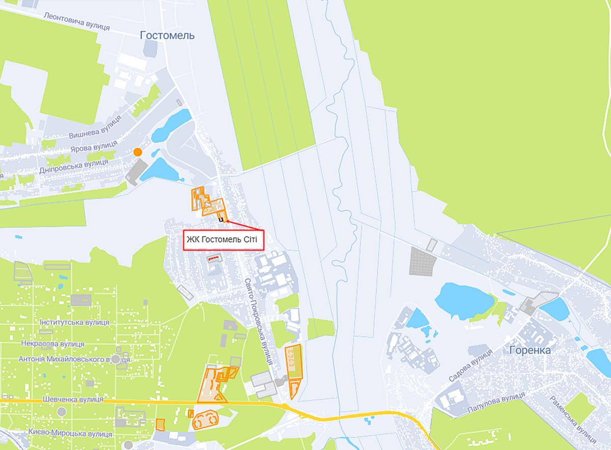 ЖК Гостомель Сити на карте