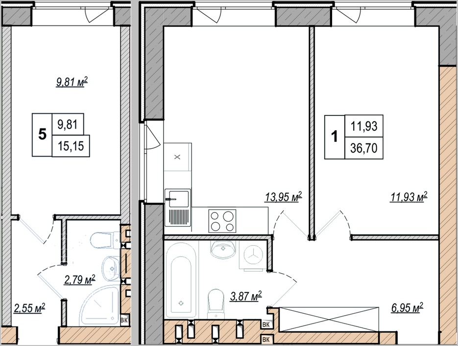 ЖК Манчестер Парк пример планировки однокомнатной квартиры