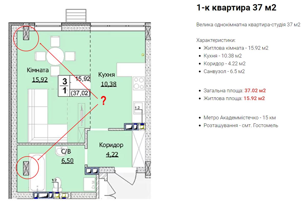 ЖК Гостомель Сити пример планировки однокомнатной квартиры