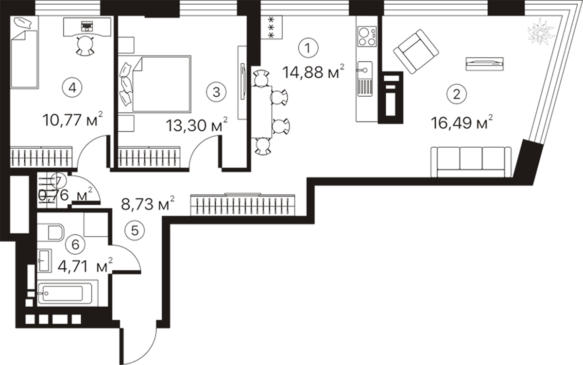 ЖК Terracotta пример планировки трехкомнатной квартиры
