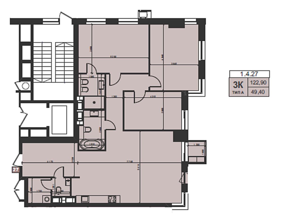 ЖК TRIIINITY пример планировки трехкомнатной квартиры