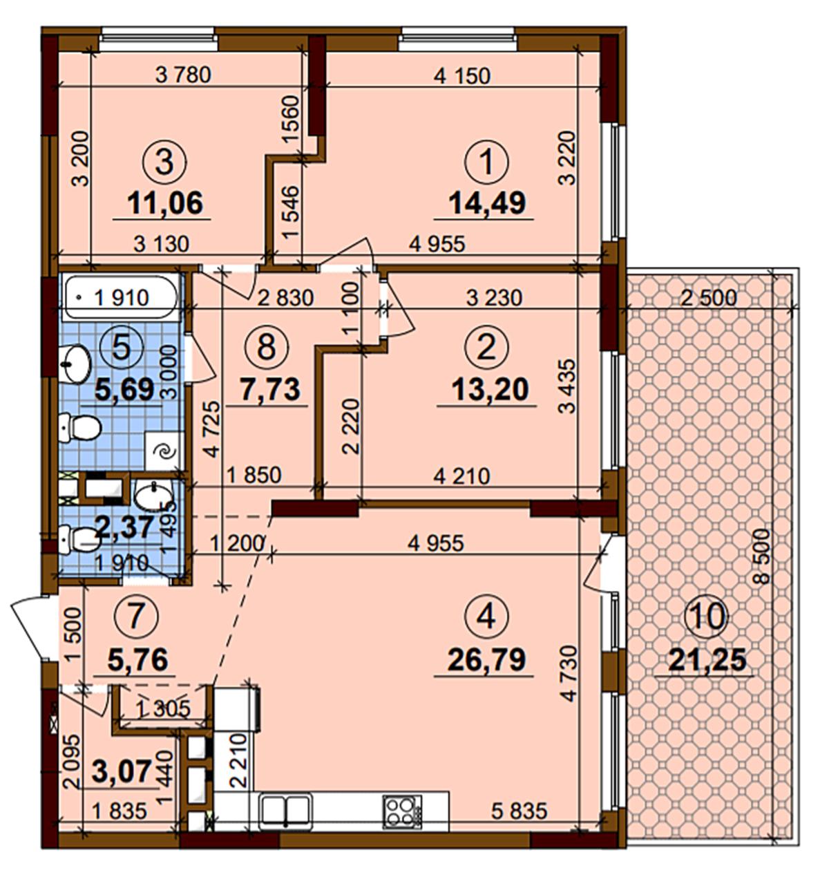 ЖК Варшавский Плюс пример планировки трехкомнатной квартиры