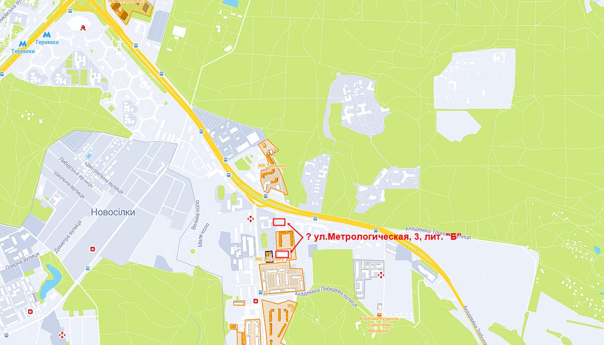 Новый ЖК по ул. Метрологическая на карте