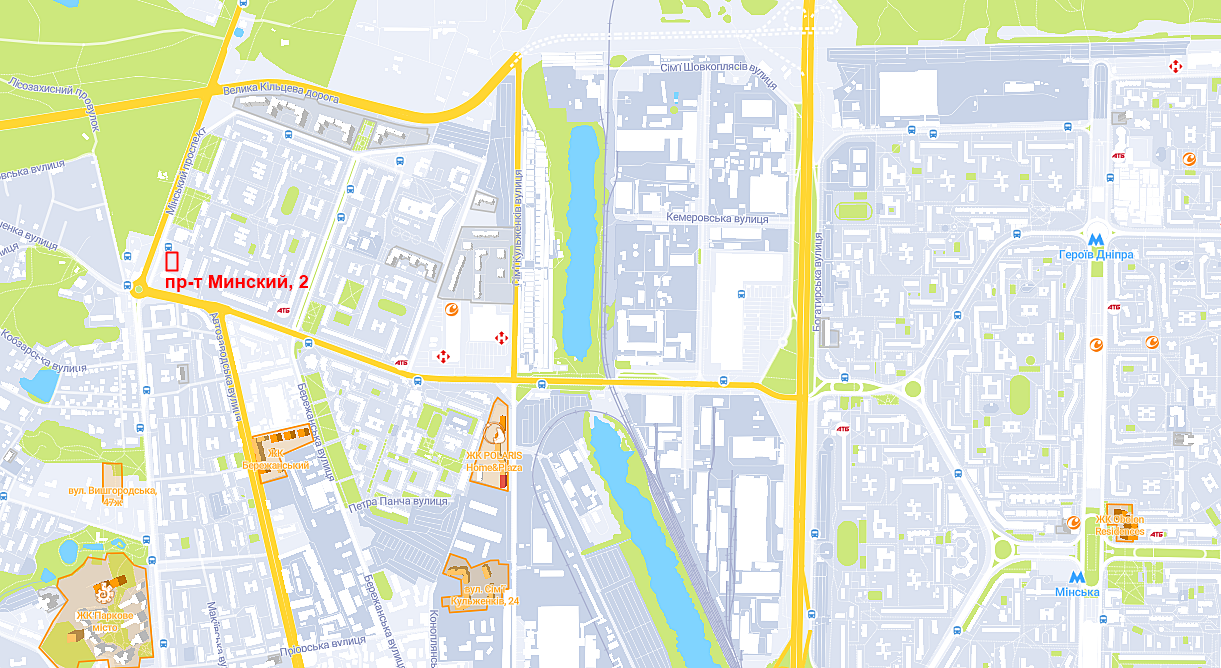 Новый ЖК на проспекте Минском на карте