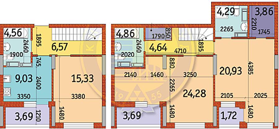 ЖК Отрада пример планировки трехкомнатной квартиры