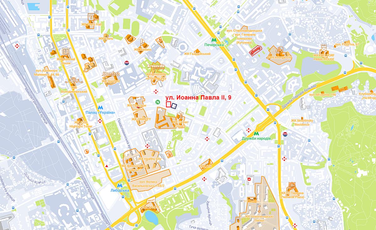 Будущий проект ЖК по ул. Иоанна Павла ІІ на карте