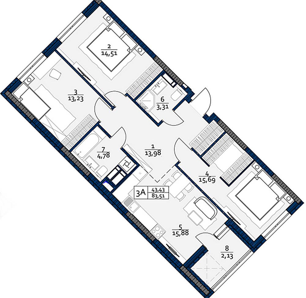 ЖК POLARIS Home&Plaza планировка трехкомнатной квартиры