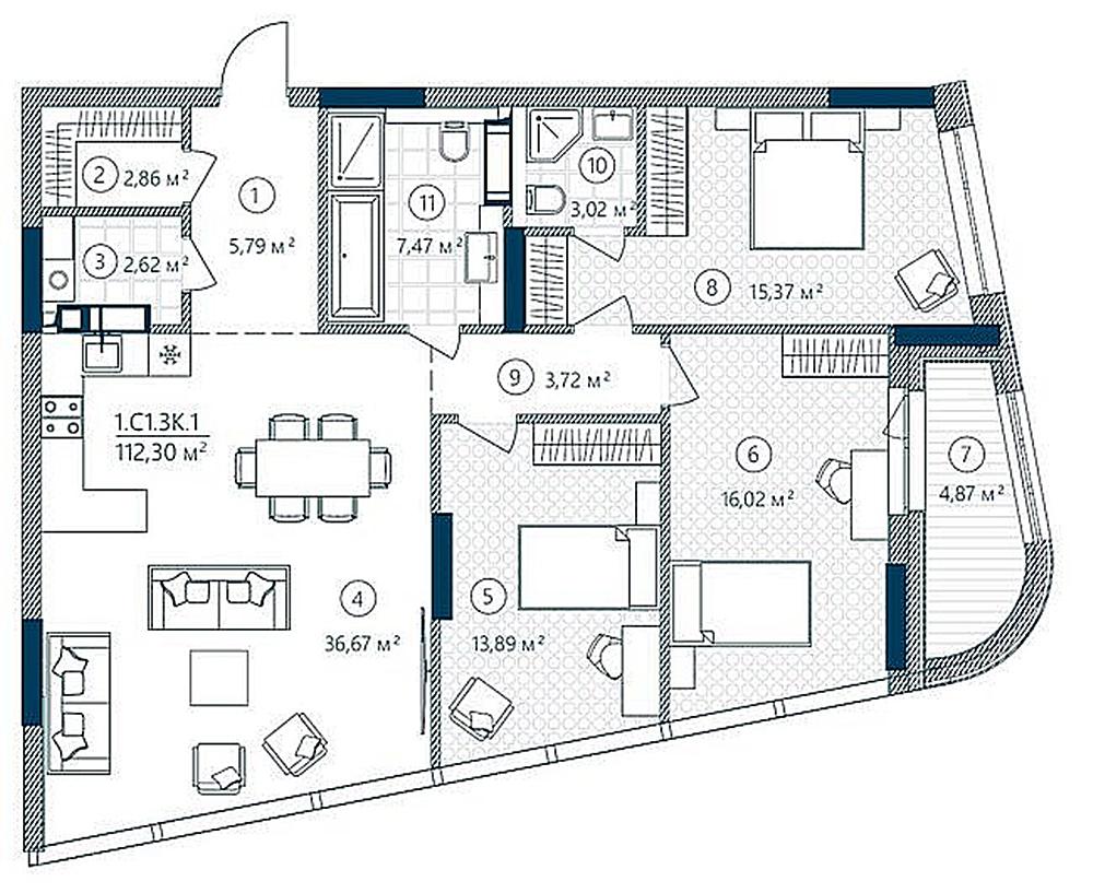 ЖК Rusaniv Residence пример планировки трехкомнатной квартиры