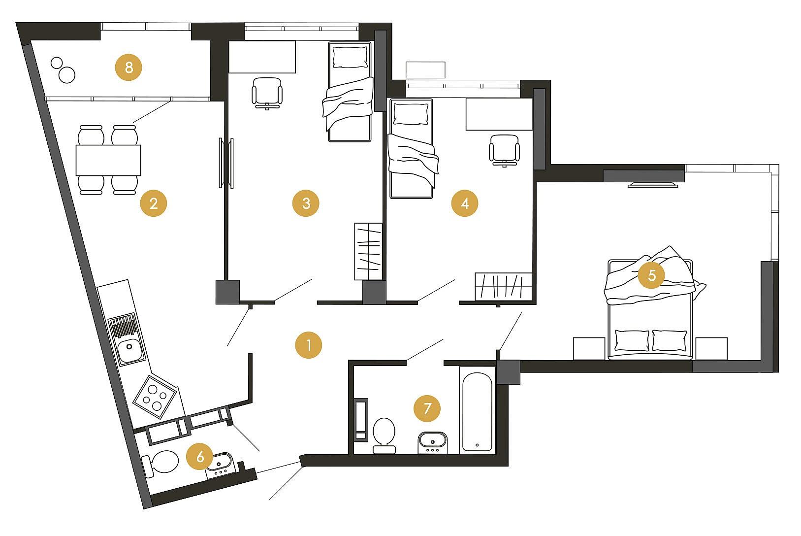 ЖК Star City пример планировки трехкомнатной квартиры