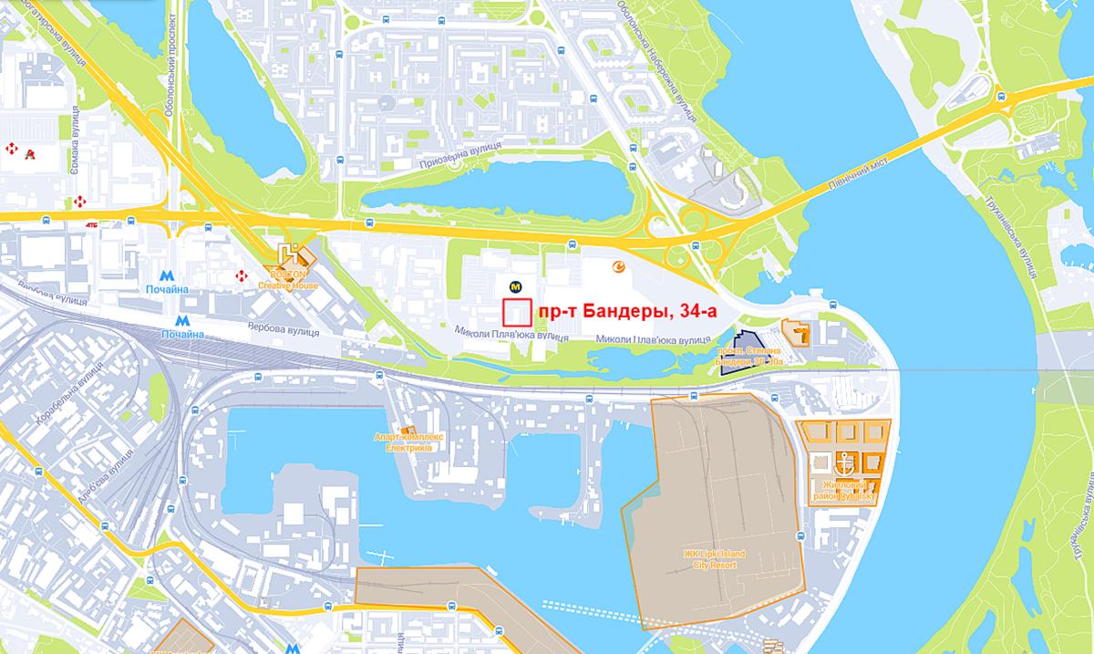 Будущий проект на проспекте Степана Бандеры, 34-а на карте