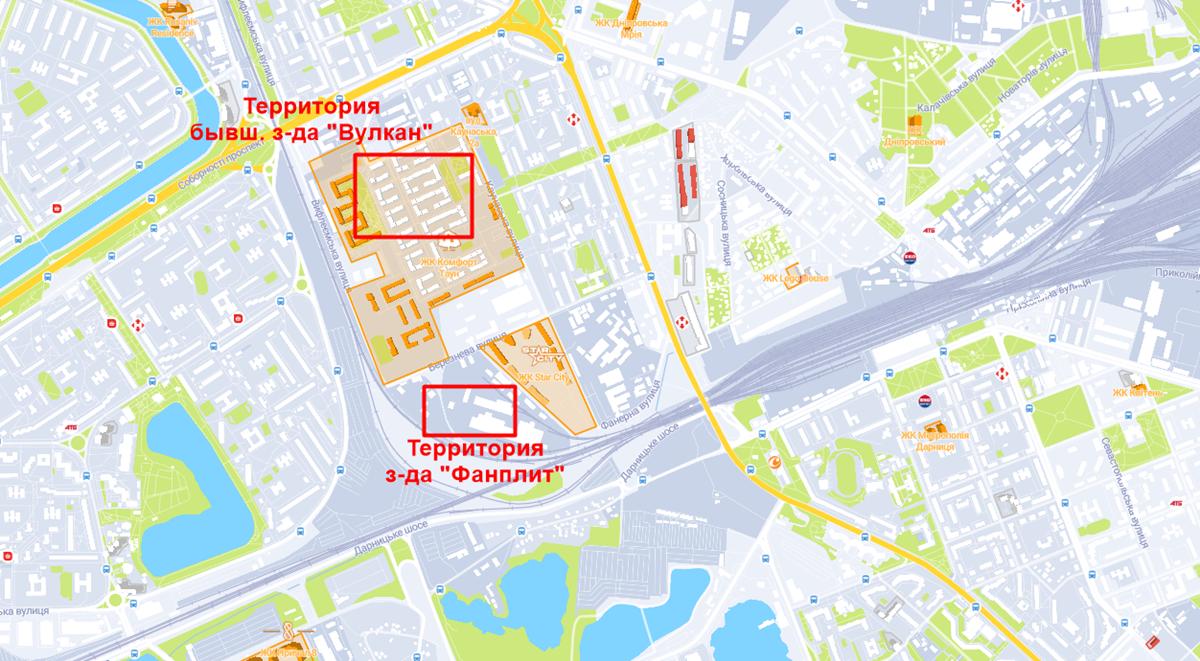 ЖК Комфорт Таун и бывшие заводы Вулкан и Фанплит на карте