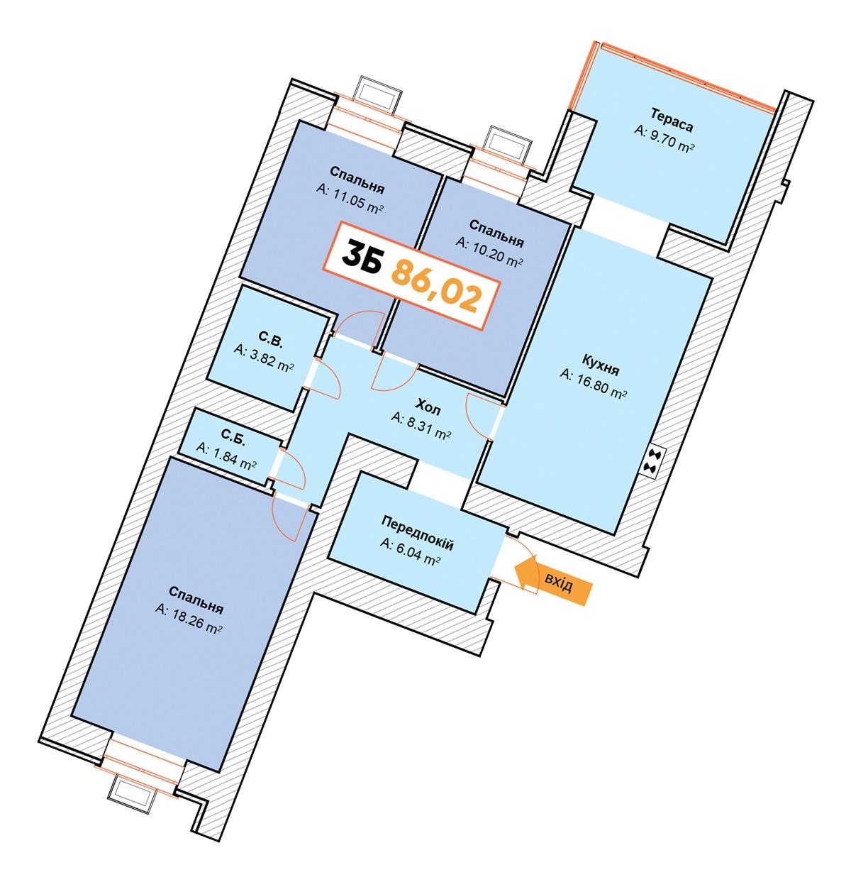 ЖК Континент вариант планировки квартиры с террасой