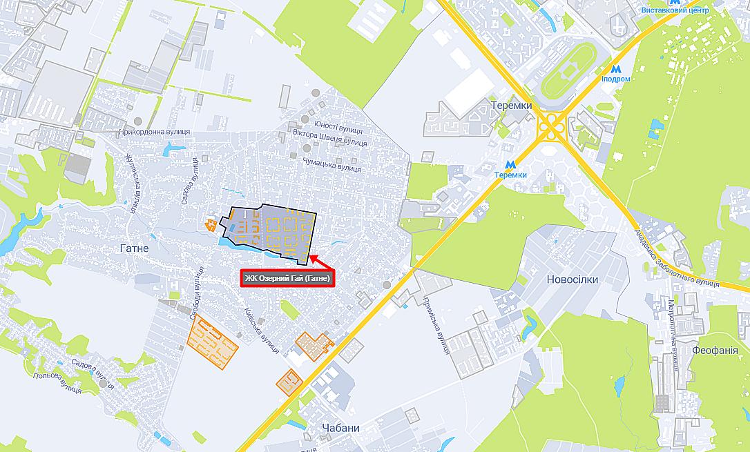 ЖК Озерный Гай (Гатное) на карте