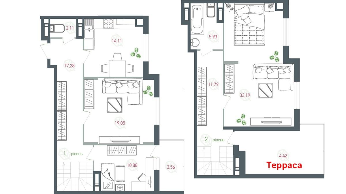ЖК Озерный Гай вариант планировки квартиры с террасой