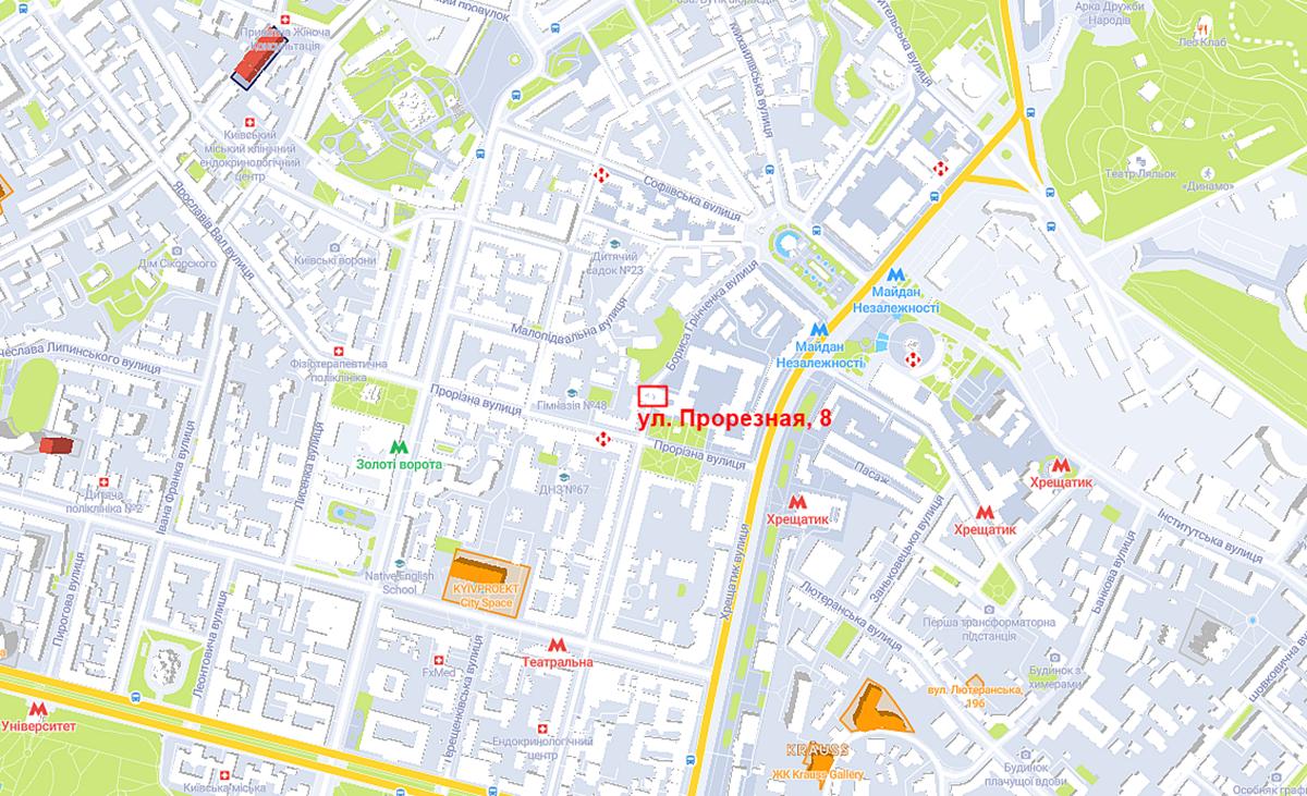 Новый проект по ул. Прорезная, 8 на карте