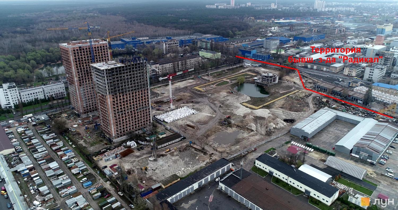 """ЖК """"Урбан Парк"""" и территория бывшего завода вид сверху"""