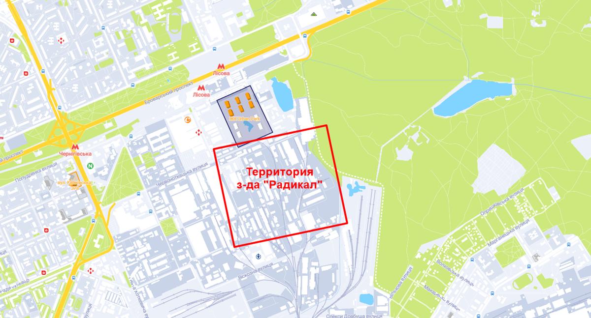 ЖК Урбан парк и территория завода Радикал на карте