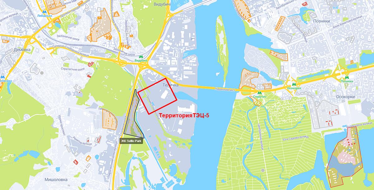 ЖК Свитло Парк и территория ТЭЦ-5 на карте