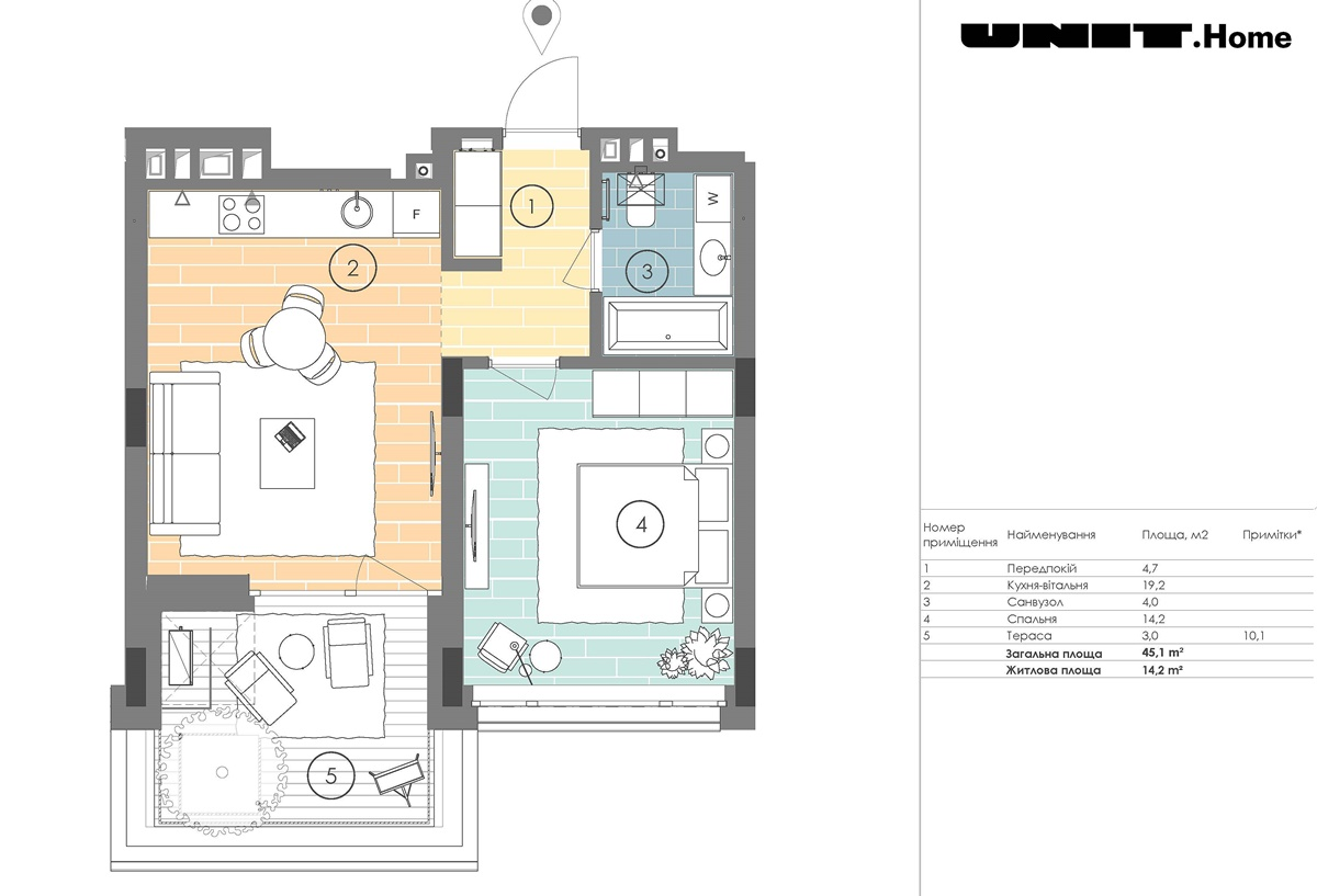 ЖК ЮНИТ.Хоум вариант планировки квартиры