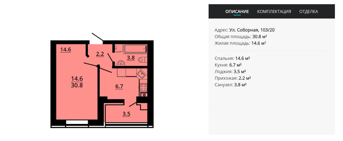 ЖК Львовский затишок вариант планировки однокомнатной квартиры