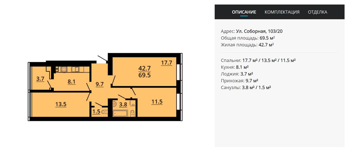 ЖК Львовский затишок вариант планировки трехкомнатной квартиры