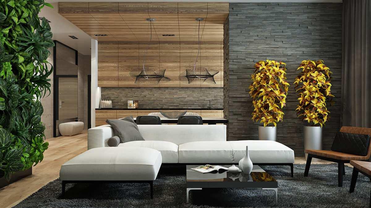 Текстуры дерева и камня в интерьере