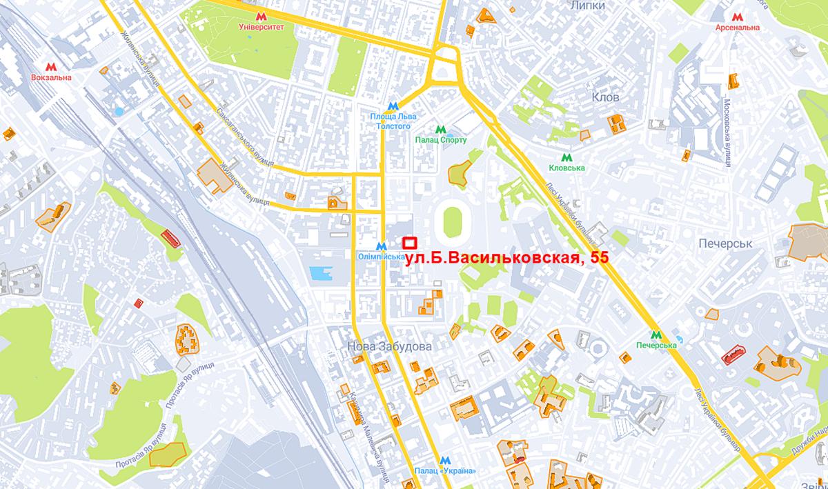 Проект по ул. Большая Васильковская, 55 на карте