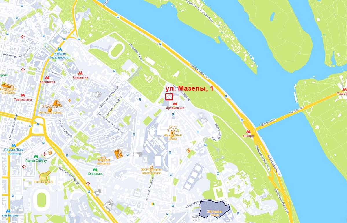 Проект многофункционального комплекса по ул. И. Мазепы, 1 на карте
