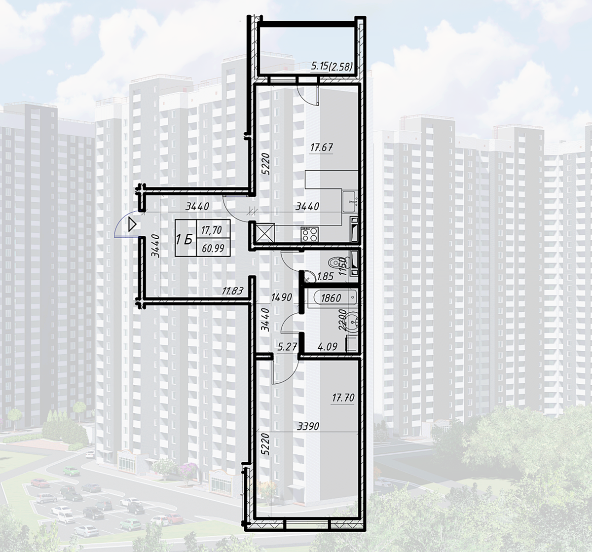 ЖК Navigator-2 вариант планировки однокомнатной квартиры