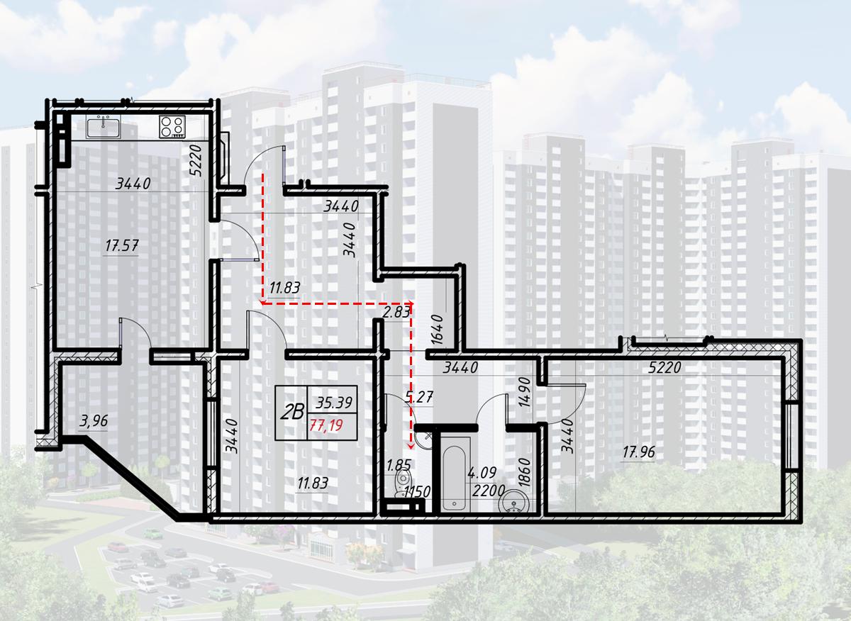 ЖК Навигатор-2 вариант планировки двухкомнатной квартиры