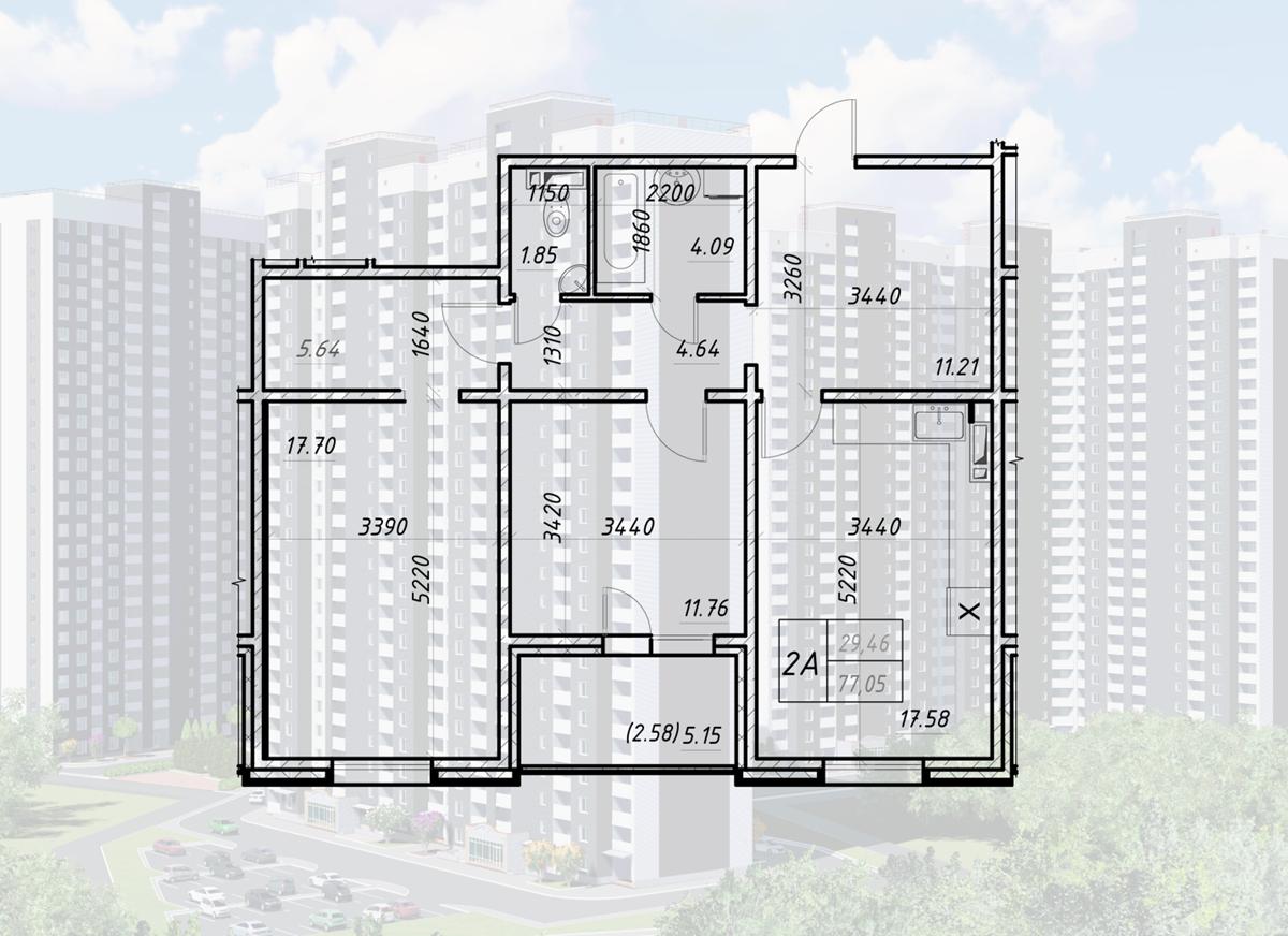 ЖК Навигатор-2 планировка двухкомнатной квартиры