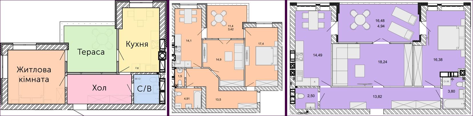 ЖК Найкращий квартал планировки квартир с террасой