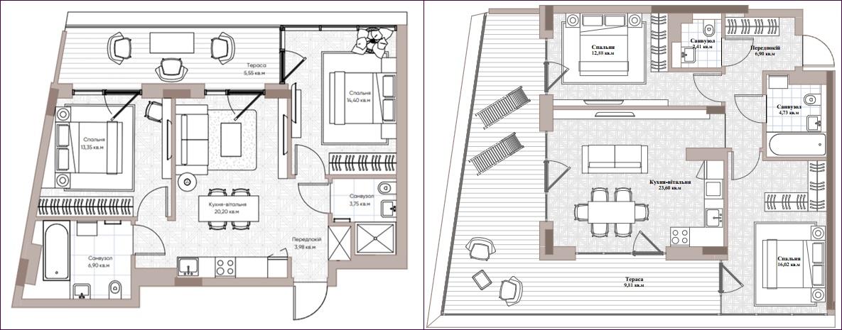 ЖК Парк Лейк Сити варианты планировок квартир с террасой