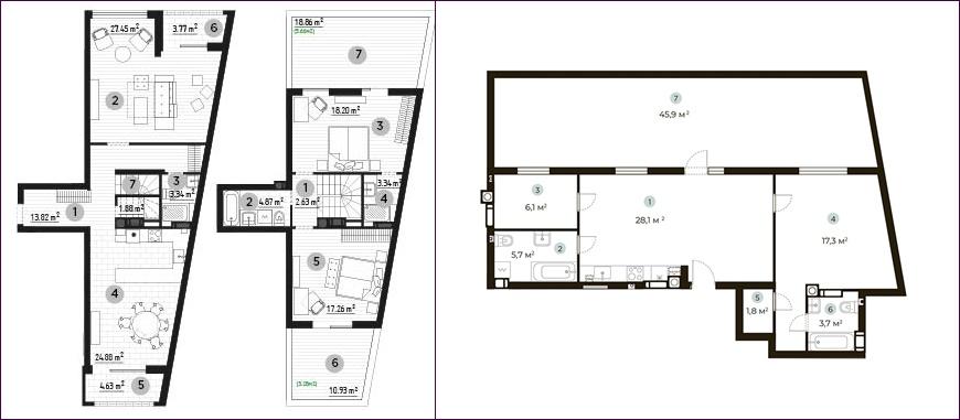 ЖК Park Town планировки квартир с террасой