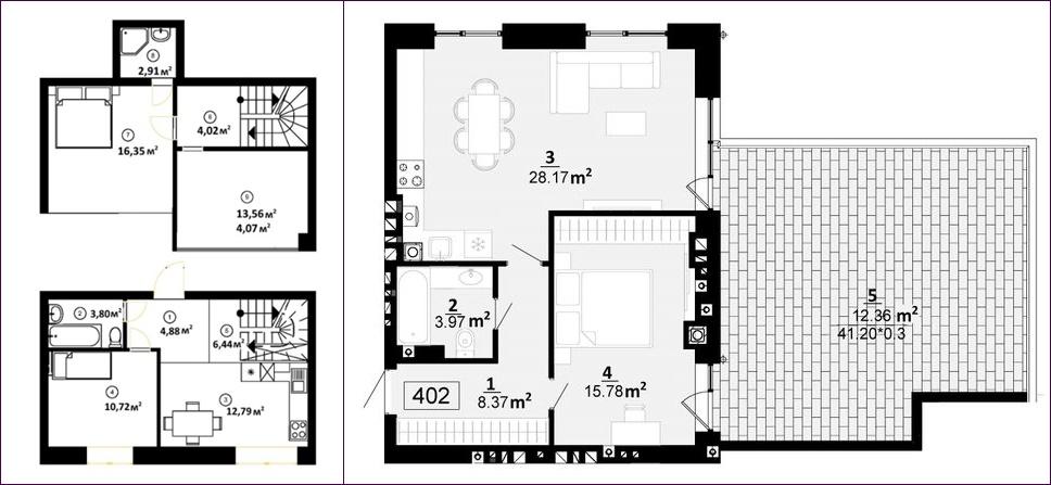 ЖК City Lake планировки квартир с террасой
