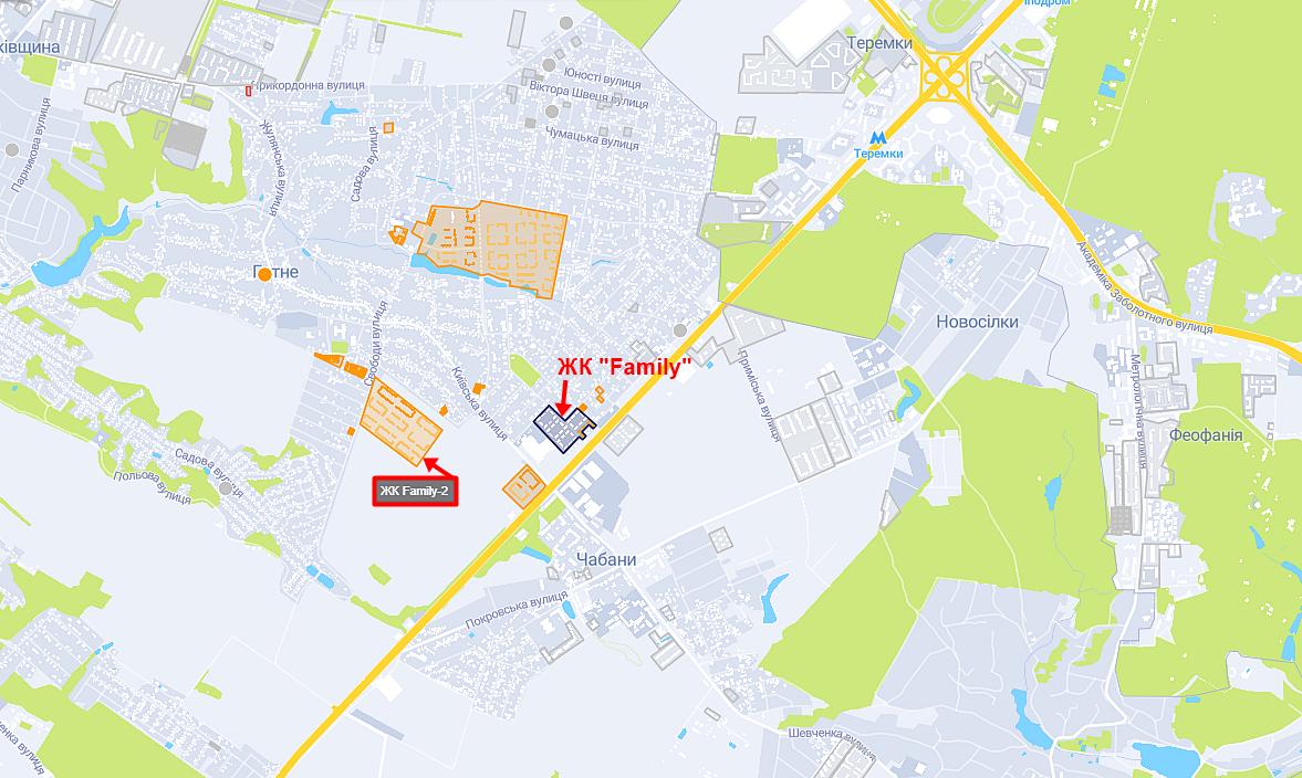 ЖК Family и Family-2 на карте