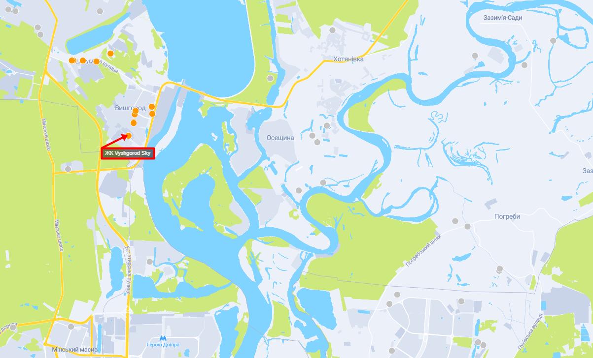 ЖК Вышгород Скай на карте