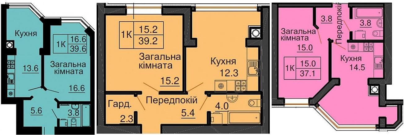 ЖК София Клубный варианты планировок однокомнатных квартир