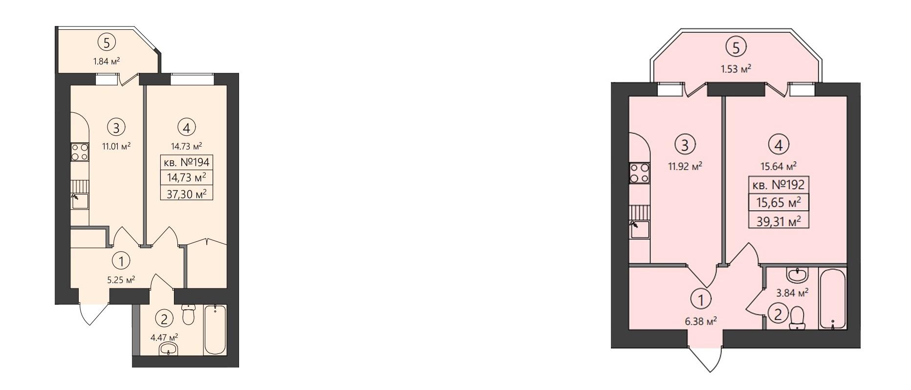ЖК Family-2 варианты планировок однокомнатных квартир